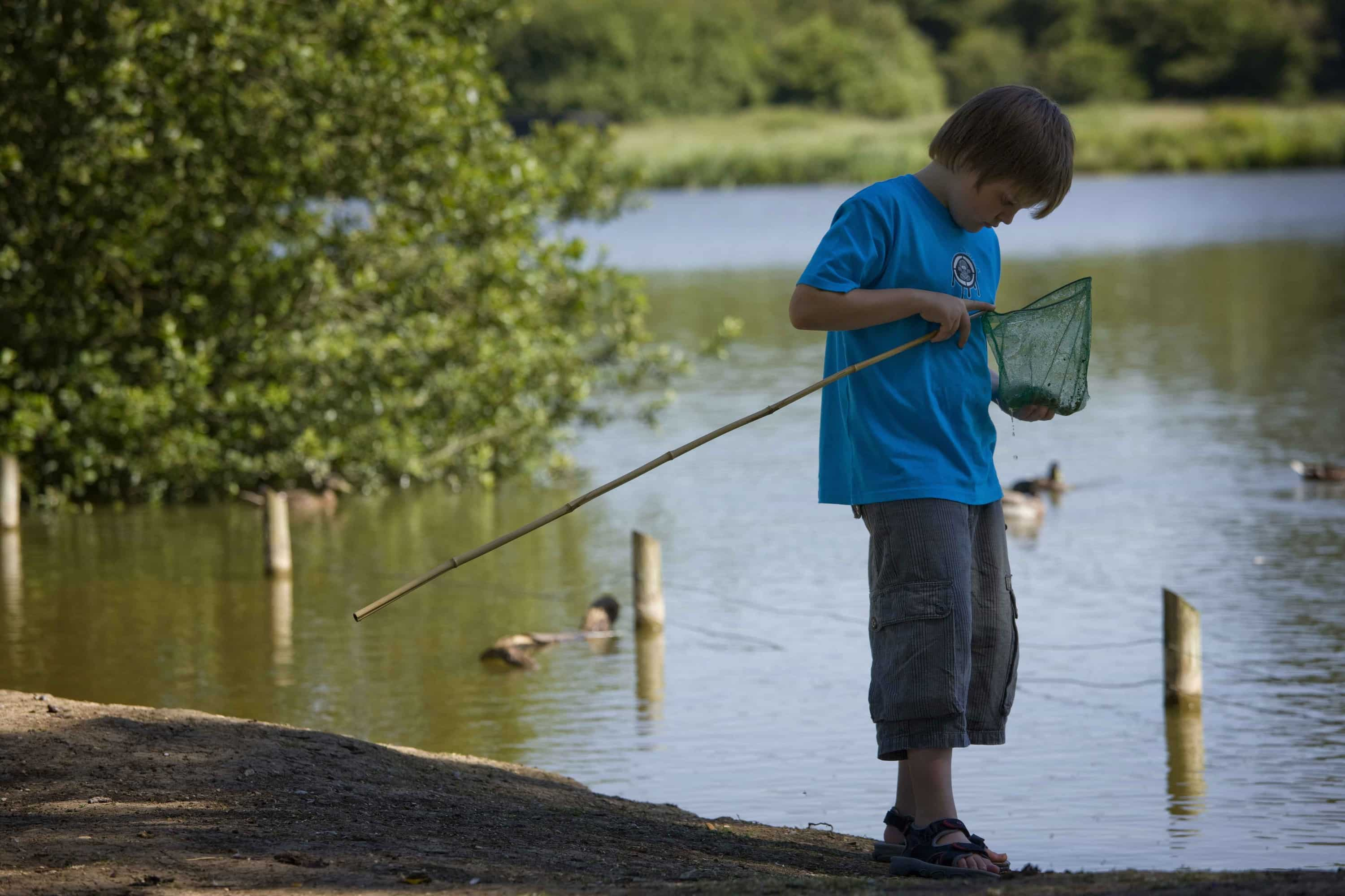 Boy Fishing in Mill Pond