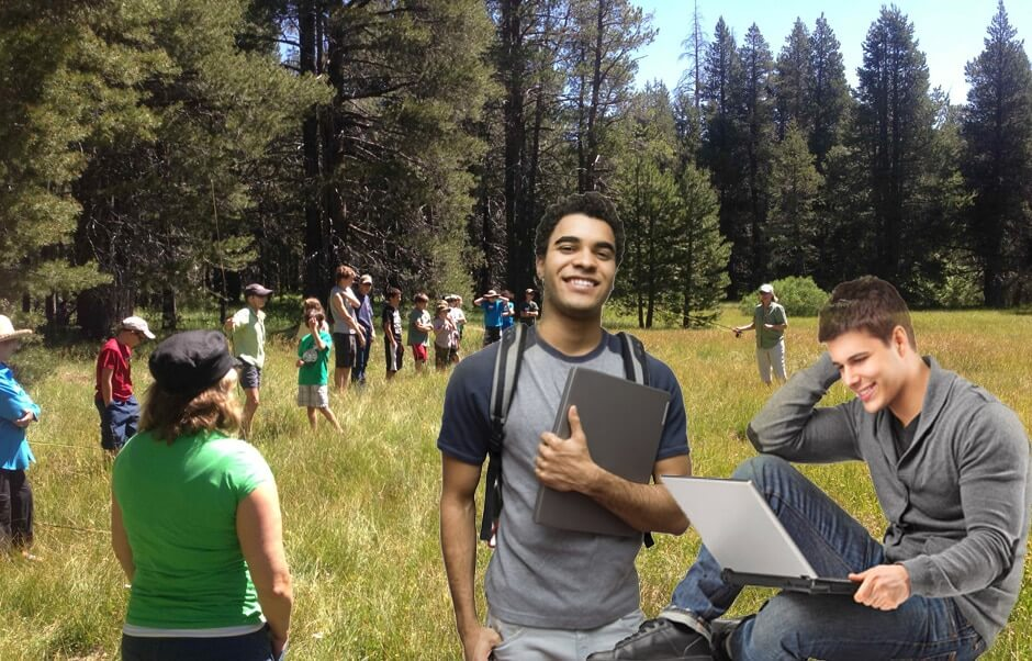 Students Studying in Field in the Sierra
