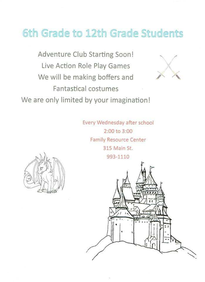 After School Fun, Adventure Club Every Wednesday Family Resource Center