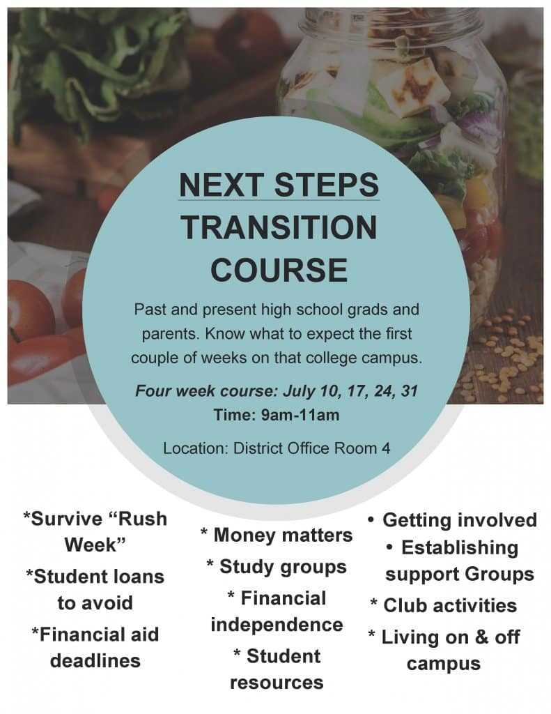 Flyer for Next Steps Transition Course